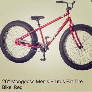 "26"" mongoose Men's Brutus Dat Tire Bike, Red."
